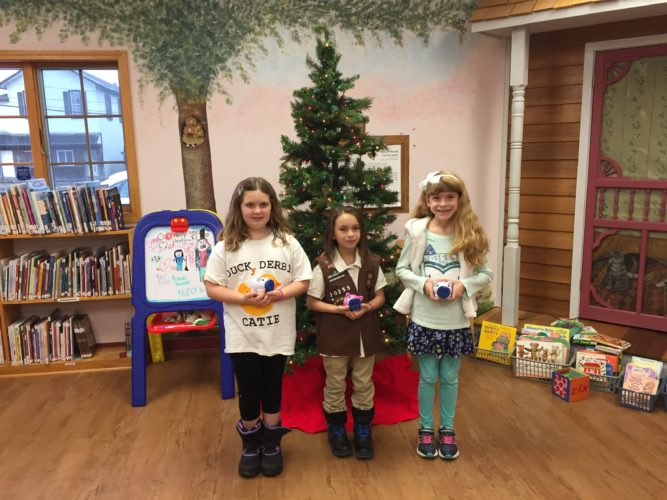 Pictured are members of local Girl Scouts Daisy and Brownie Troops 20255 and Junior Troop 24004. From left is Catherine Russell, Isadora Pryll and Shea Richerson.  Submitted photo