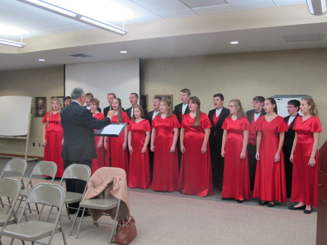 "The Jamestown High School Madrigal Singers gave a performance of ""Coventry Carol"" at a recent meeting of the Jamestown Board of Education in honor of the upcoming 92nd A Cappella Vespers beginning on Sunday.  P-J photo by Katrina Fuller"