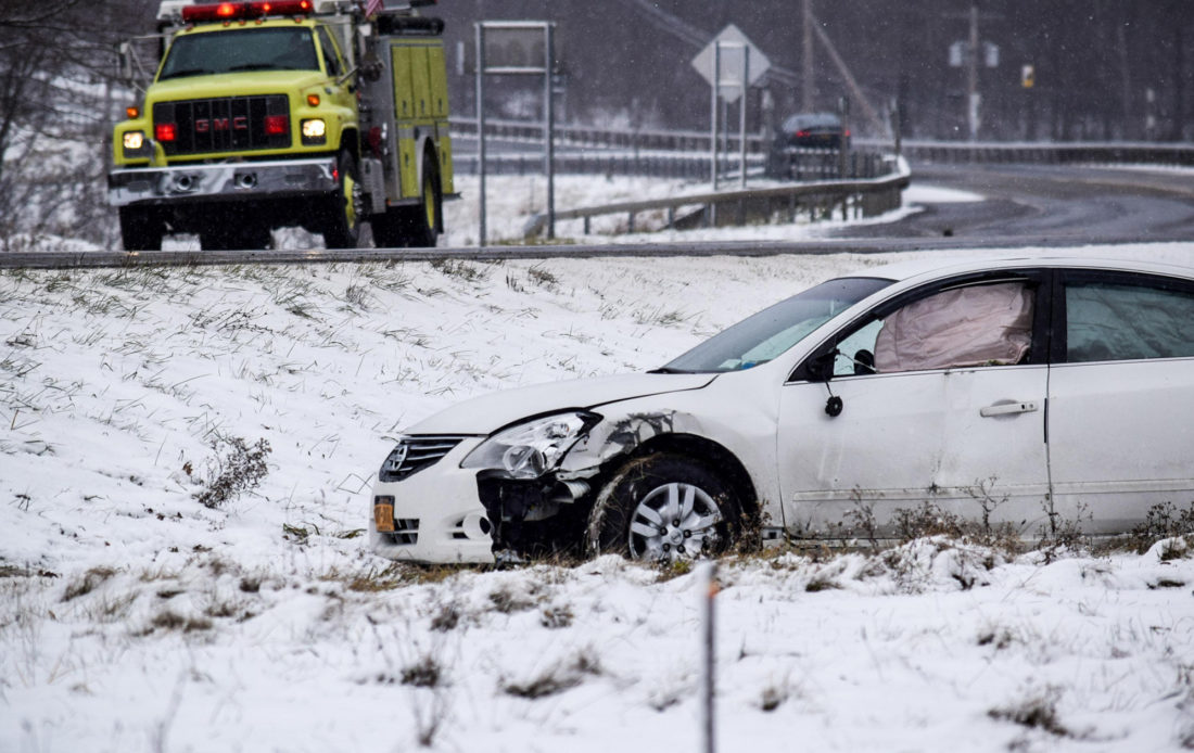 Police agencies throughout Chautauqua County responded Thursday for a variety of incidents, from car crashes to overturned trucks. Pictured is the aftermath of a motor vehicle crash in Thursday in Sinclairville. P-Jphoto by Dan Kohler
