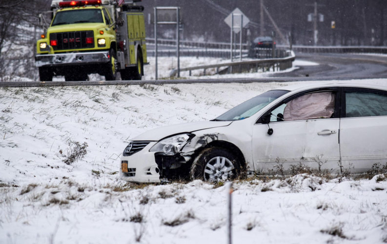 Police agencies throughout Chautauqua County responded Thursday for a variety of incidents, from car crashes to overturned trucks. Pictured is the aftermath of a motor vehicle crash in Thursday in Sinclairville. P-J photo by Dan Kohler