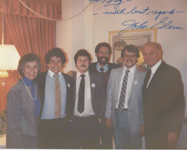 Jamestown native Greg Cordosi, second from left, poses with former astronaut and then-Ohio Senator John Glenn and his wife, Annie, in March 1983. Glenn had announced his bid for president that day and was attending fundraisers in Los Angeles. Pictured from left is Annie Glenn; Cordosi; Jamestown native Kevin Kaiser; Bill Pearce; Rick Hosmer; and John Glenn.  Submitted photo