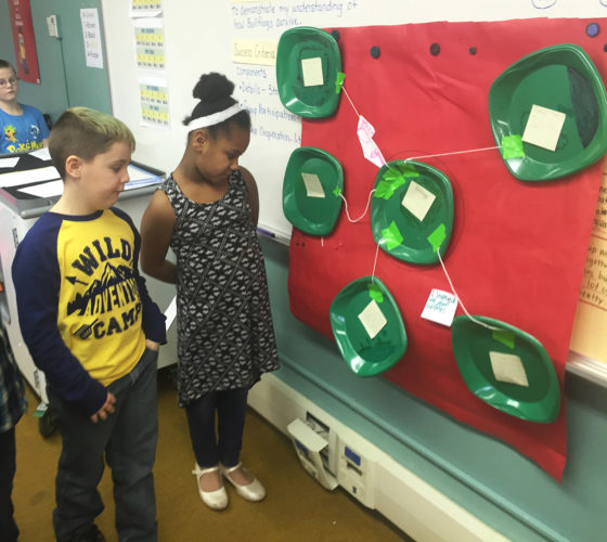 Fletcher Elementary School third graders, Giovanni Parasiliti and Maleea Haight, talk about the details they discovered about bullfrogs through their visually-orientated project.