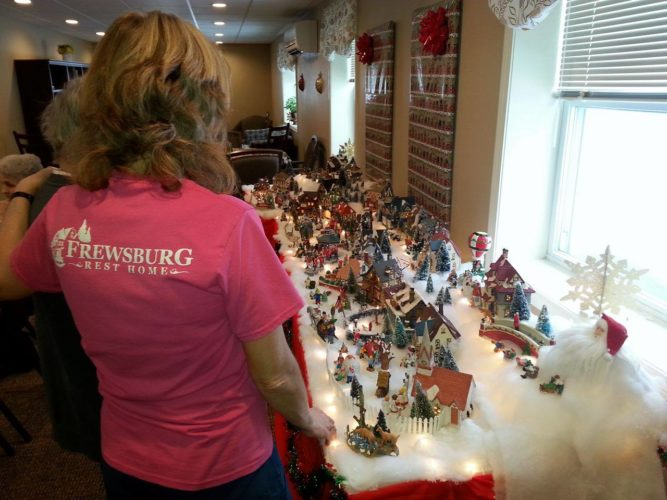 Pictured is the Christmas village built for the residents of the Frewsburg Rest Home. Submitted photos