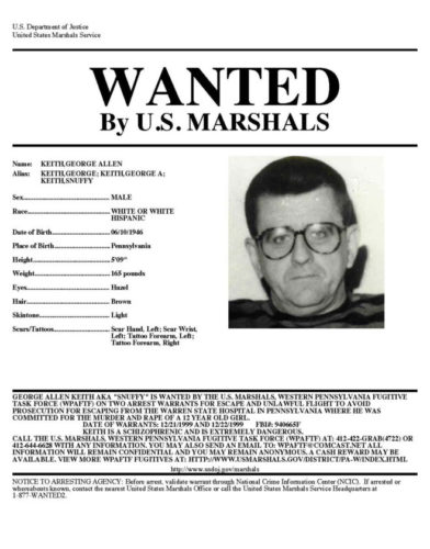 A wanted poster for George Allen Keith, who wondered from the Warren State Hospital in 1999. Keith is a convicted murderer in the 1975 death of a 12-year-old. Submitted photo
