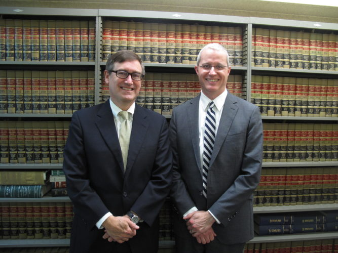 From left, attorneys Sam Price and Dana Lundberg have recently announced that the Price Flowers Malin & Westerburg law firm, located at 202 N. Main St., will merge with Lundberg Law Offices, located at 202 W. Fourth St., at the start of the new year. P-J photo by A.J. Rao