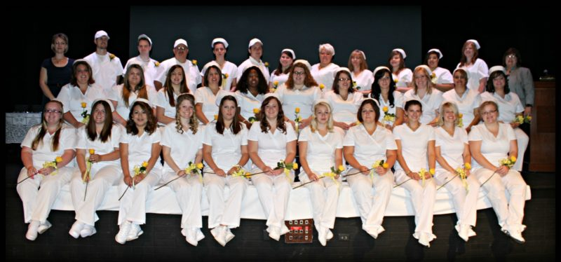 Back row, standing, are instructor Amanda Merchant, David Price, Ryker Maddox, Angel Echevarria, Amy Nowell, Royal Attard, Megan Attard, Meagan Livermore, Mary O'Donnell, Celina Eggleston, Rachael Rugg, Brigetta Borkwoski and instructor Michelle Johnson-Anderson. Middle row, seated on chairs, are Amber Conklin, Alana Stafford, Shannon Patrizi, Dawn Johnson, Melissa Brown, Jessica Banes, Christina DeLong, Jolean Scott, Amber Lucas, Angela Ortiz and Lacy Cabisca. Front row on stage are Meagan Jude, Nicole Oste, Mara May Batson, Mary Jane Mizner, Chelsey Johnson, Danielle Parker, Amber Caylor, Tyrina Wheaton, Breanna Crouse, Ashley LaPlante and Elizabeth Heston.