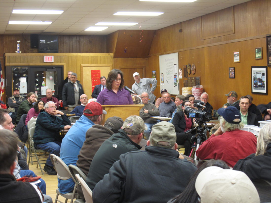 Pictured is local resident Tina Graziano, sharing her opinion on the Cassadaga Wind project at a public hearing Monday at the Sinclairville Fire Hall. P-J photo by A.J. Rao