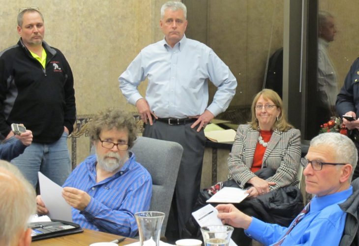 Pictured, standing at right, David Leathers, Jamestown Board of Public Utilities general manager, talking about the BPU's solid waste policy with Jamestown City Council Monday. P-J photo by Dennis Phillips