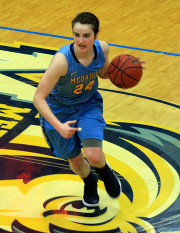 Medaille's Dani Reinwald had 21 points and 21 rebounds in a win over Pitt-Bradford on Wednesday evening. Photo courtesy of Medaille College Athletics