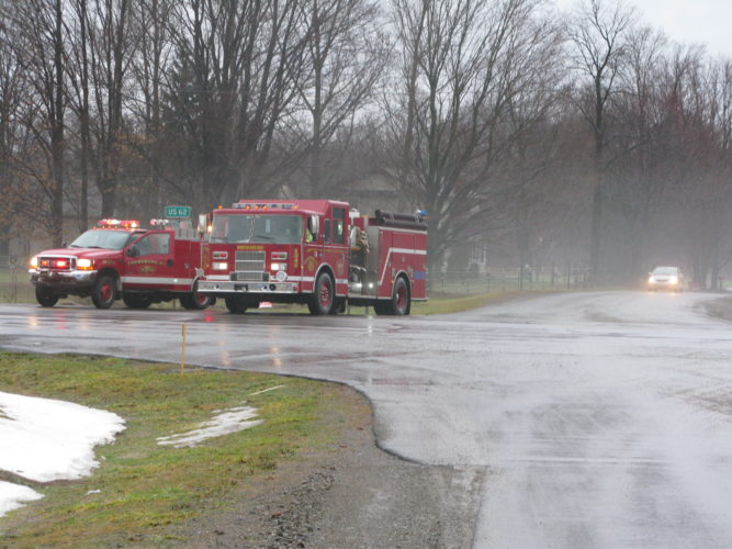 Fire crews have closed roads to traffic this morning due to severe flooding in the Kiantone area.  P-J photo by Gavin Paterniti