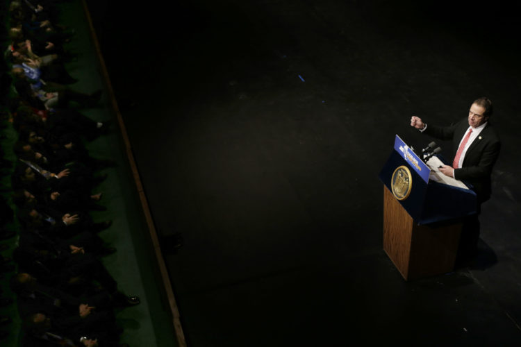 New York Gov. Andrew Cuomo delivers one of his state of the state addresses at SUNY Purchase in Purchase, N.Y., Tuesday.