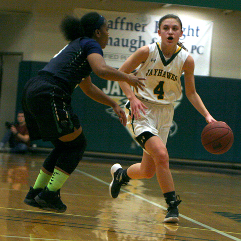 Above, Jamestown Community College's Emilee Sperry dribbles past a Villa Maria defender during Sunday's non-conference college basketball game at the Physical Education Complex. Sperry finished with 21 points. P-J photo by Scott Kindberg