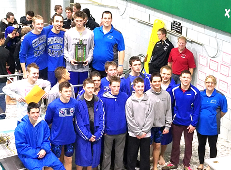 The Panama swim team poses for a photograph after winning the 16th annual Jon Brockhurst Invitational on Saturday. Submitted photo
