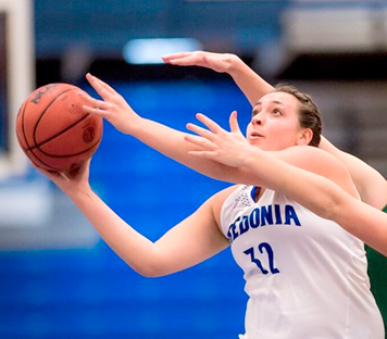Jenna Einink recorded her fourth double-double of the season last Friday in SUNY Fredonia's win over Brockport. Photo courtesy of SUNY Fredonia Sports Information Department