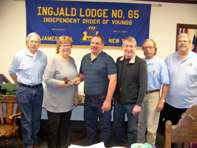 Pictured, from left, Past Ingjald Chief Steve Worden handing meeting gravel over to newly elected Chief Jane Fosberg. Also pictured are Past Grand Chief Bill Peterson; Chief Jane Fosberg; Past Chief Steve Worden; newly elected Vice-Chief Doug Sanders; Past Grand Chief Tim Fagerstrom; and Past Ingjald Chief Bryan Nelson