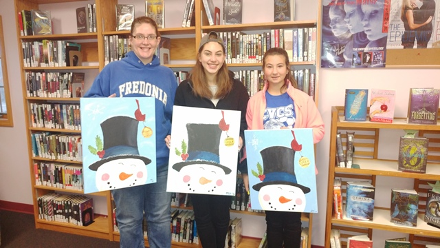 The United Arts Appeal is accepting grant applications from Chautauqua County artists and organizations for awards from its 2017 Projects Pool Grants Program. In 2016, grants were awarded to two individual artists and eight organizations. One of the funded projects was the Sinclairville Free Library's Positively Paint Program. Pictured from left are Dawn Cross, Mackenzie Perry and Allison Stewart with the paintings they created under the direction of local artist Penny Erb.