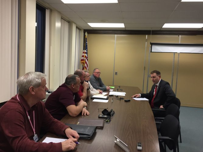 Chautauqua County District Attorney Patrick Swanson discusses new gun policy with the County Legislature's Public Safety Committee Wednesday.  P-J photo by Jimmy McCarthy