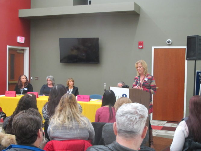Julie Apperson, local psychiatric nurse, spoke about her experiences with heroin both as a nurse and as the mother of someone who was addicted at the AAUW/MHA Heroin Epidemic: Women's Voices, Needs and Impact at the James Prendergast Library on Thursday.