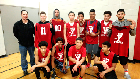 The Jamestown Teen Center Red Team is pictured after winning the Martin Luther King Jr. Day Tournament at the Jamestown YMCA. Submitted photo