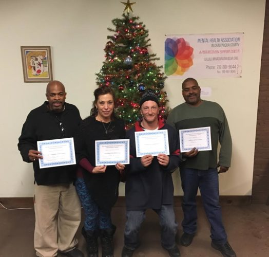 Twenty-two people in the recovery community were recognized for their achievements at the Mental Health Association in Chautauqua County's December Recovery Luncheon. Among those who received certificates were, from left, Torry Knight, Dorothy Carlson, Jonathan Schwabb and Brian Jones.