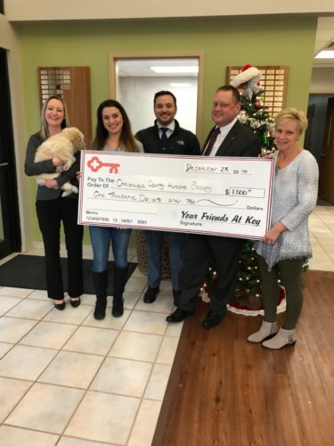 Pictured, from left, are Jessica Wojciechowicz, mortgage loan officer KeyBank, Hannah Raynor, CCHS community relations director; Shane Uber, KeyBank client; Philip Persons, VP branch manager KeyBank, Amy Farren, CCHS Office Manager.