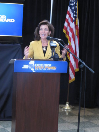 New York State Lt. Governor Kathy Hochul at the Jamestown Gateway Train Station Friday presenting the State of the State speech.  P-J photo by Dennis Phillips