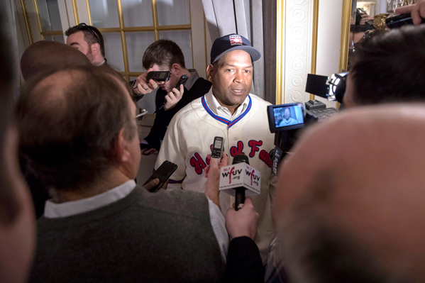 Newly elected baseball Hall of Fame inductee Tim Raines speaks to reporters during a news conference Thursday in New York.  AP photo
