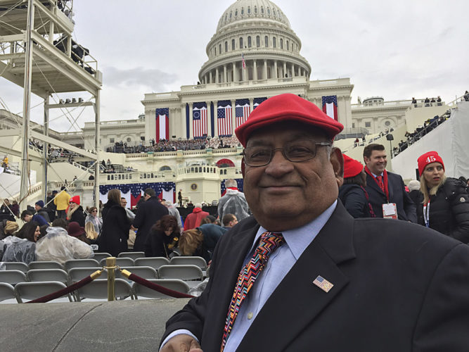 Ash Khare, RNC delegate and electoral college elector, at his seat at the Presidential Inauguration on Friday in Washington, D.C. Submitted photo