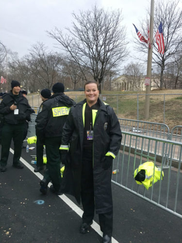 Pictured is Kelley Fisher-Masten, who worked security Friday at the inauguration of Donald Trump in Washington, D.C.  Submitted photo