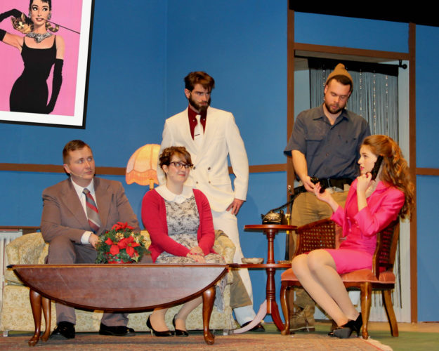 """Cast members of the Lucille Ball Little Theatre's upcoming production of """"Saving Grace"""" are pictured in their respective roles. From left are: John Pickett as Walter Chepple; Kaitlin Ames as Harriett Larkin; Jonathan Young as Gregor Vanitsky; Carl Liuzzo as Alex Docker; and Paige Cummings as Grace Larkin. Submitted photo"""