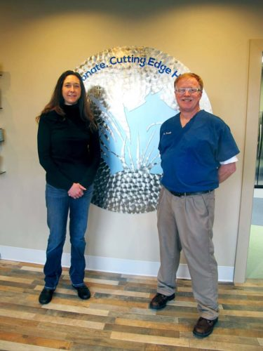 Co-owners of Lakeside Veterinary Medicine, Brooke Imus Harkness and Patrick S. Farrell, are ready to show off their new facility on Wednesday from 10 a.m. to 6 p.m. The new facility is located at 976 Fairmount Ave.  P-J photo by Katrina Fuller