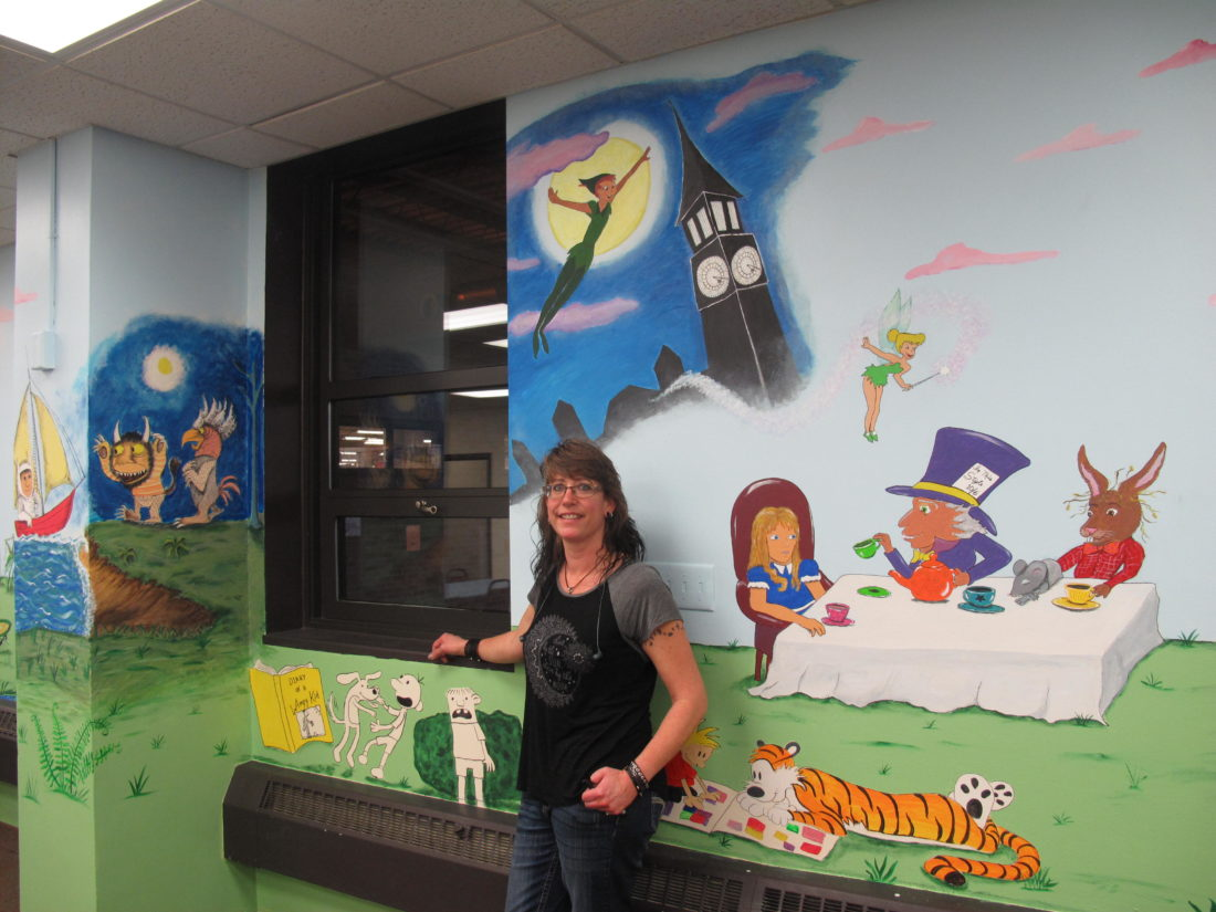 local artist gives chautauqua striders a literary mural news pictured is renee pye a bemus point artist infinity visual and performing arts