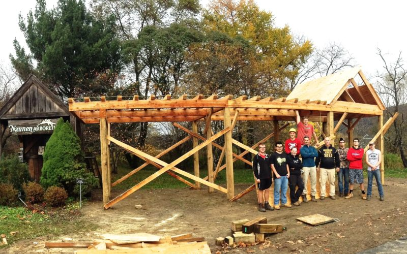Students in the Carpentry and Construction Trades class from the Ellicottville Career and Technical Center recently built a shelter at the trailhead of the Ellicottville-Great Valley Recreational Trail. The structure is located by the parking lot at the Town Center/Nannen Arboretum on Fillmore Avenue. Shown are the students participating in the project. Front, from left: Matt Buckley, Conner Fitzpatrick, Shannon Gannon, John Hudson, teacher Terry Fuller, Matt Nutall, Sam Jacobi, Gerrott Hutchson. Back, from left: Ryan Shipherd and Adam Gannon. Submitted photo
