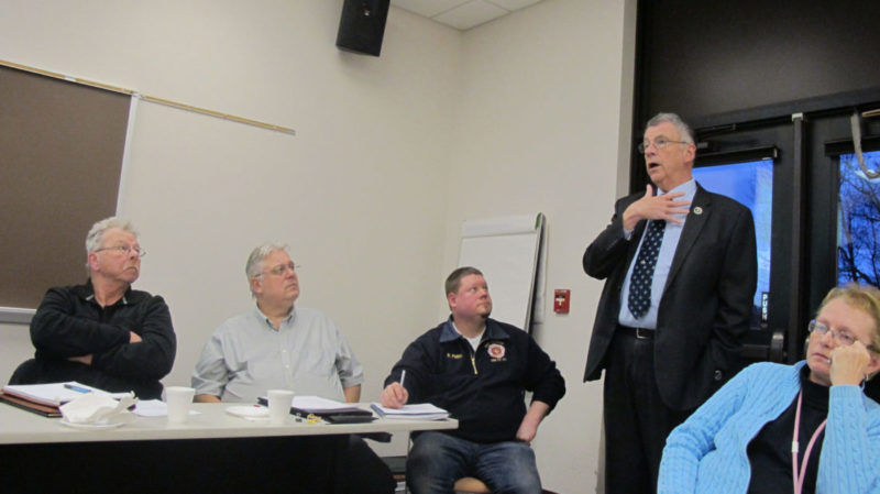County Executive Vince Horrigan, right, speaks at a meeting of the North Chautauqua County Water District.  P-J photo by Rebecca Cuthbert
