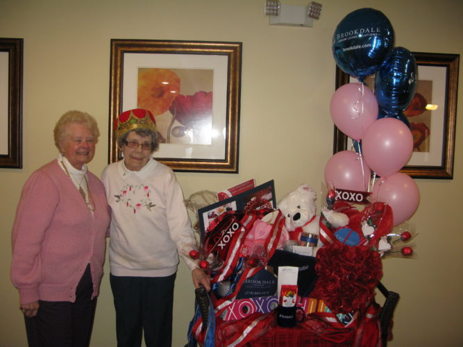 Grace Kent, 90, was crowned the 2017 Senior Sweetheart of Chautauqua County during a Tuesday afternoon reception at Brookdale Lakewood. She is pictured with a package of gifts awarded to her, valued at over $400. P-J photo by Gavin Paterniti
