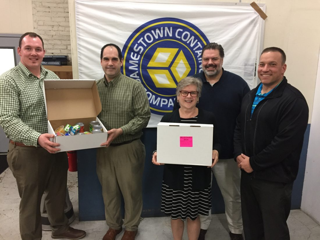 Pictured, from left, Evan Owens, Jamestown Container account manager; Barrie Yochim, Jamestown Meals on Wheels executive director; Reverend Natalie Hanson, pastor of Christ First United Methodist Church; Rev. Dr. Bill Allen, pastor of Bemus Point United Methodist Church; and Nick Fiorella, Jamestown Container account manager.
