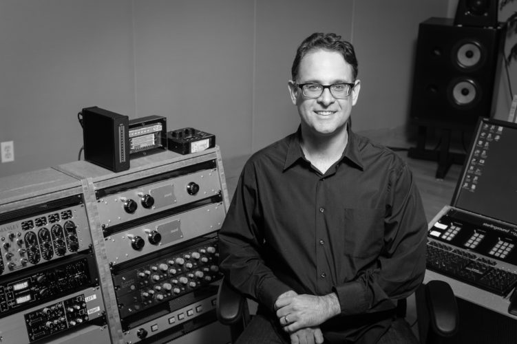 "Falconer native Randy Merrill is pictured inside his mastering studio, M6, at Sterling Sound in New York City. Merrill received two Grammys last week for his work on Adele's album ""25.""  Submitted photo"