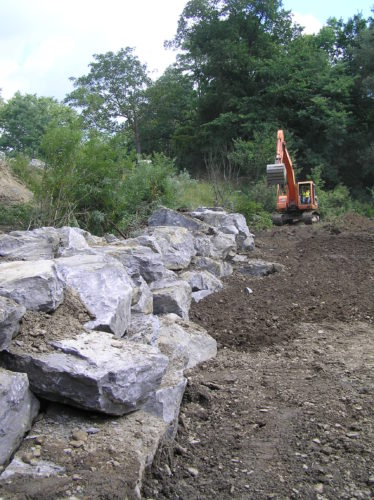 Stone toe protection in Prendergast Creek uses large limestone blocks to protect the banks from heavy flows.  Photo by Jen Maguder