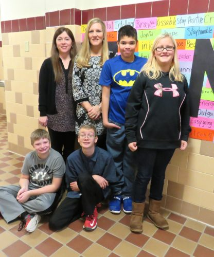 Melissa Sohl has been teaching special education classes at Randolph Central School for 19 years. To prepare her students for independence in the real world, she teaches them important life skills. Pictured are, seated from left, Pierce Farmer and William Jones. Pictured back from left are, teacher aid Cathleen Flood; Sohl; Brandon Loomis and Mikala Fuller. P-J photo by Deb Everts