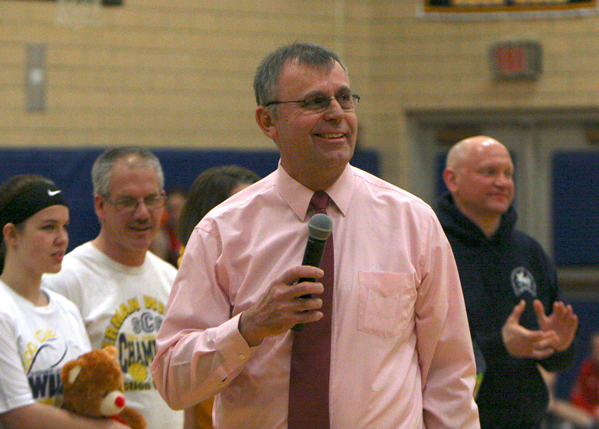 Sherman Central School girls basketball coach Mel Swanson addresses the crowd during Senior Night last week at the SCS gym. Swanson is retiring after nearly 40 years on the Lady Wildcats' bench. P-J photo by Scott Kindberg