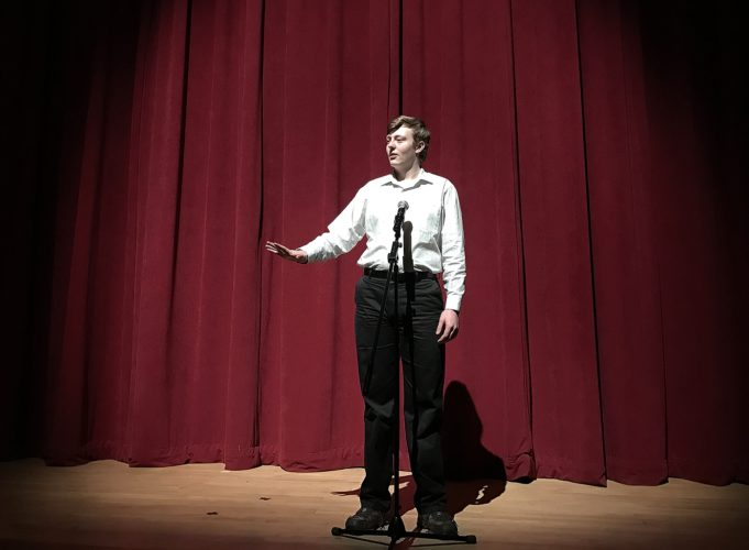 Gavin Card is pictured during the Western New York Regional Poetry Out Loud competition held in Buffalo.