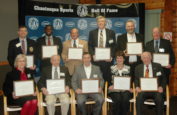 The 36th annual Chautauqua Sports Hall of Fame Banquet was held Monday night at the Lakewood Rod & Gun Club. Above are members of the Class of 2017. Seated, from the left, are: Julie VanDeMar, daughter of the late Doc Malinoski; Sammy LaMancuso; Mike Sayers; Deb Palmer; and Paul Cooley. Standing, from the left, are: Dave Polechetti; Maceo Wofford; Charlie LaDuca; Jake Ensign; Sam Restivo and Bob Patterson. P-J photo by Scott Kindberg