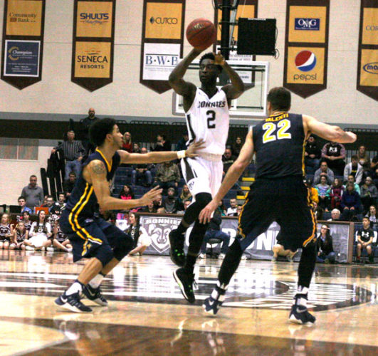 In this file photo from earlier this season, St. Bonaventure's Matt Mobley looks for an open teammate. P-J file photo by Cody Crandall