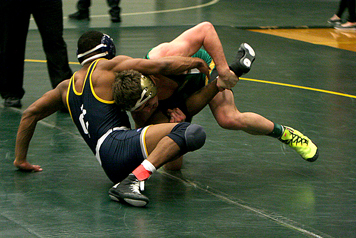Nate Skonieczny of Jamestown Community College, right,  begins his quest for an NJCAAwrestling championship today. P-J photo by Scott Kindberg