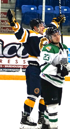 Southern Tier's Ty Rickabaugh celebrates during Thursday's NA3HL game at Northwest Arena. P-J photo by Chad Ekclof