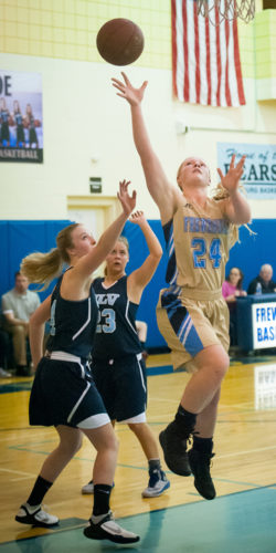 Frewsburg's Olivia Lynn drives to the basket during Section VI quarterfinal playoff action in Class C2. P-Jphoto by Valory S. Isaacson