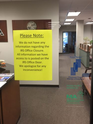 The IRS Tax Assistance Center in Jamestown is scheduled to re-open next week. The location closed earlier this year without notice.  P-J photo by Jimmy McCarthy