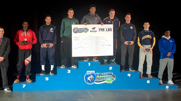 The NJCAA 149-pound place finishers, including Jamestown CC's Nate Skonieczny(third place), are pictured following the NJCAA Championships on Saturday at the Mid-America Center in Council Bluffs, Iowa. Submitted photo