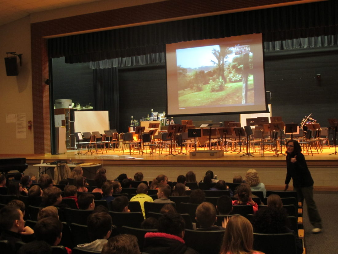 Persell Middle School fifth-graders interacted with college student researchers based in Costa Rica during a morning live-stream session with Twan Leenders, Roger Tory Peterson Institute president. Leenders and his students showed off frogs, birds, spiders and more during the live presentation from the Costa Rican rainforest.  P-J photo by Katrina Fuller
