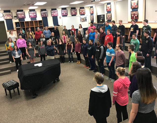 """Jamestown High School's A Cappella Choir sang  """"The Star Spangled Banner"""" during a recent practice rehearsal.                 Submitted photo"""